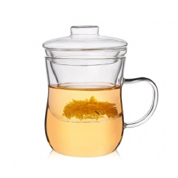 350ml glass cup with filter