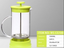 LFGB SGS colorful muticolor customized color plastic and borosilicate glass french press/coffee plunger