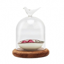 clear glass dome bell with base